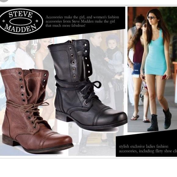 f1a6bae556 Steve Madden Black leather Troopa Boots 7. M 5b6ba1c5e944ba3ad7218f62